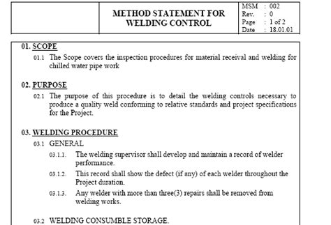 method statement template for construction method statement for welding images frompo