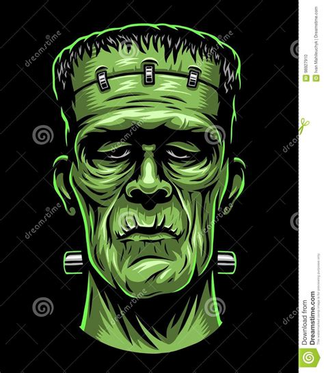 background on themes in frankenstein color illustration of frankenstein head stock vector