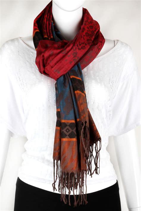 Japanese Design Print Scarf woven print design fringe scarf scarves
