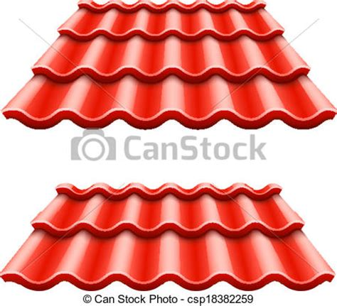 Shingle House Plans clipart vector of red corrugated tile element of roof