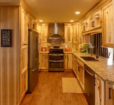 rustic hickory cabinets black laminate countertops ge by dream kitchens rustic ge slate appliances