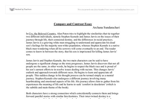 Compare And Contrast Essay Introduction Exle by Cry The Beloved Country Compare And Contrast Essay Gcse Marked By Teachers