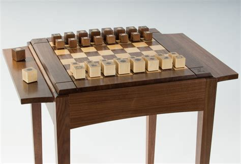 chess table usa made walnut maple chess table space saving elegance