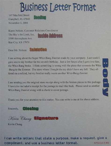 business letter format 5th grade business letter anchor chart 5th grade sra imagine it