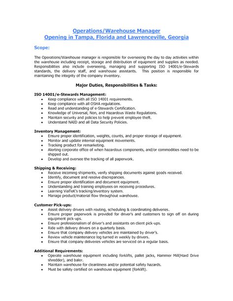 creative duties of a warehouse worker for resume duties of