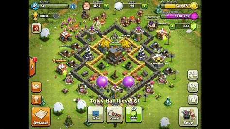 layout of coc th6 th6 hybrid base layout youtube