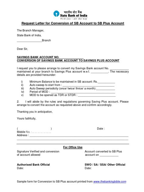 account closing letter sbi request letter for conversion of account to savings plus