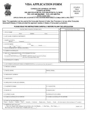printable version of indian visa application form indian visa application form pdf san francisco fill