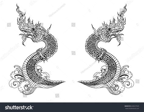 thai dragon tattoo designs thai on water stock vector 628227929