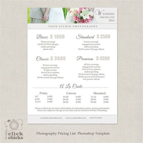Wedding Package by Wedding Photography Package Pricing List Template