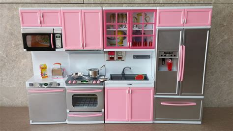 kitchen setting unboxing new barbie kitchen set deluxe modern toy