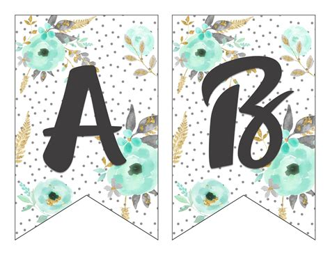 printable alphabet templates for banners free printable alphabet banner mint and gold free