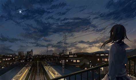 blondes anime girls imgur wallpaper 1920x1200 230243 anime girl in school uniform watching city sky full hd 2k