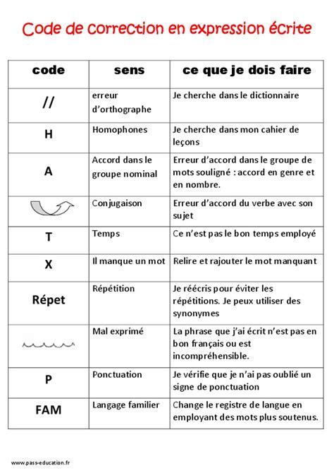 Grille évaluation Expression écrite Anglais by Code De Correction En Expression 233 Crite Ce2 Cm1 Cm2
