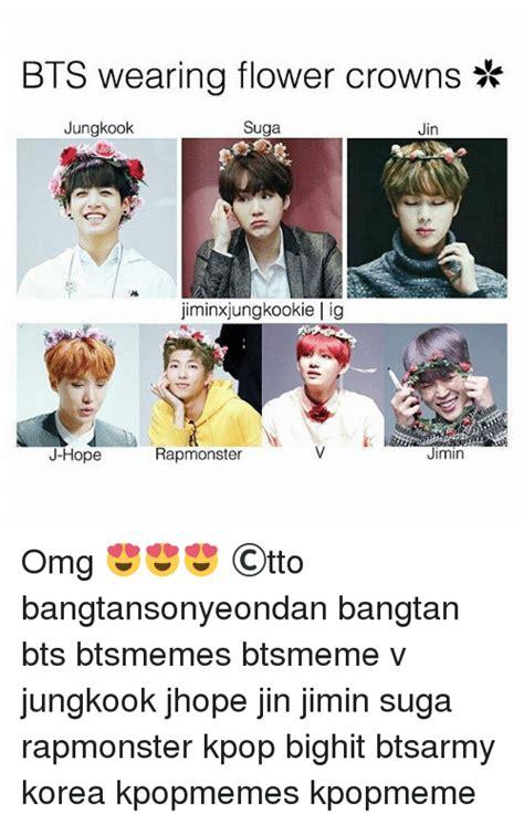 bts wearing flower crowns jungkook suga jin
