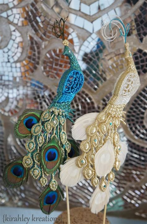 peacock wedding cake toppers glittery iridescent green