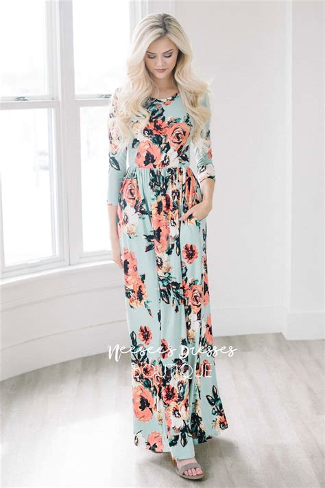 Flower Maxy mint floral maxi modest dress best and affordable modest boutique modest