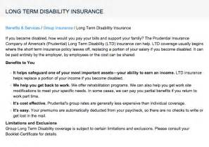 Prudential long term disability insurance