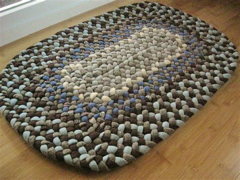 Handmade Mat - handmade wool oval braided rug or bath mat in sky bue and