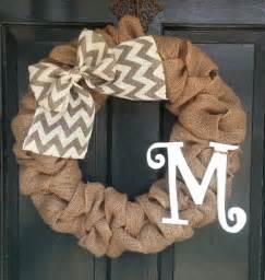 burlap wreath with gray chevron burlap bow front door wreath
