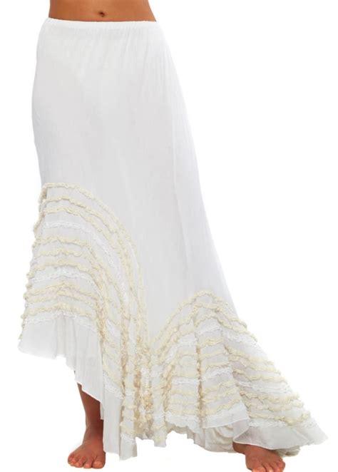 antica sartoria asymmetric white cotton lace boho maxi