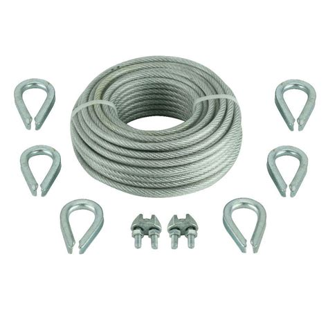 everbilt 1 8 in x 30 ft vinyl coated wire rope kit