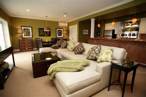 Decorating A Basement On A Budget by Functional Basement Set Up With Bar Lounge Seating And
