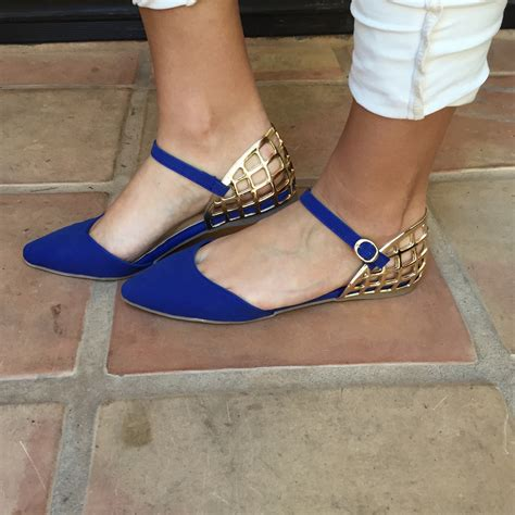 royal blue flats shoes royal blue gold mila point toe flats shoes shoe