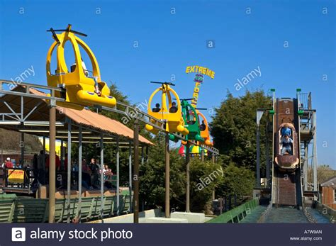 theme park cornwall fairground rides at flambards theme park near stock photo