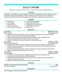 Ag Loan Officer Sle Resume by Loan Officer Resume Exles Finance Resume Sles Livecareer