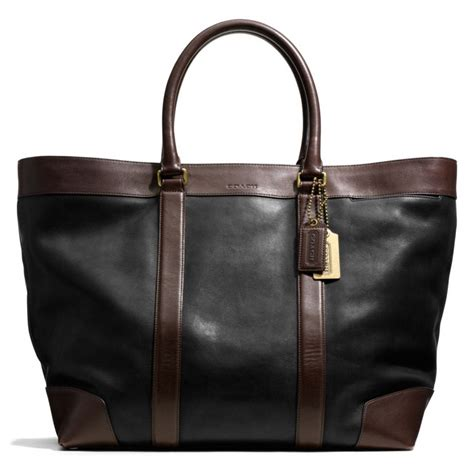 Coach Htons Weekend Patchwork Tote by Coach Bleecker Weekend Tote In Harness Leather In Black