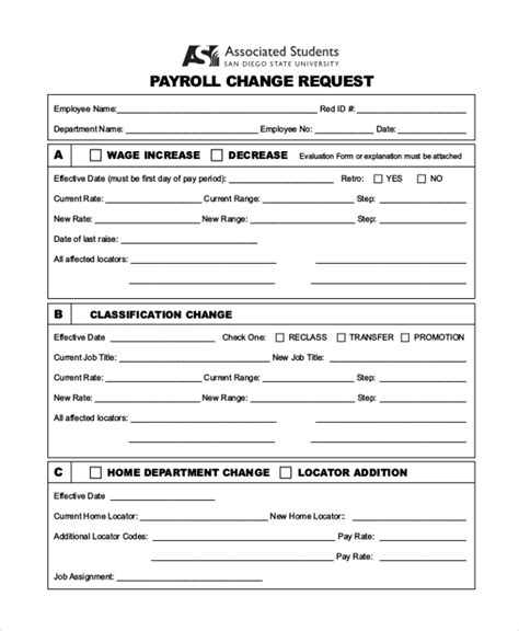 payroll change notice form template payroll status change form template image collections