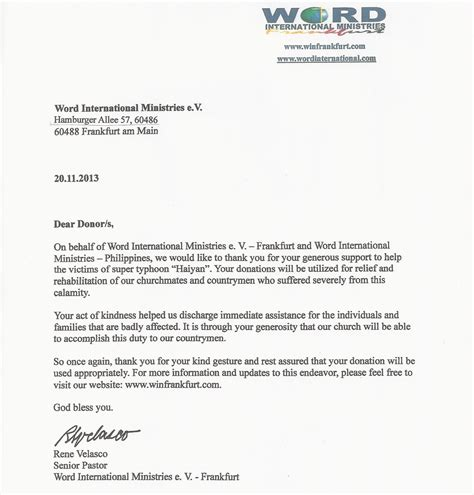 thank you letter to pastors word international frankfurt