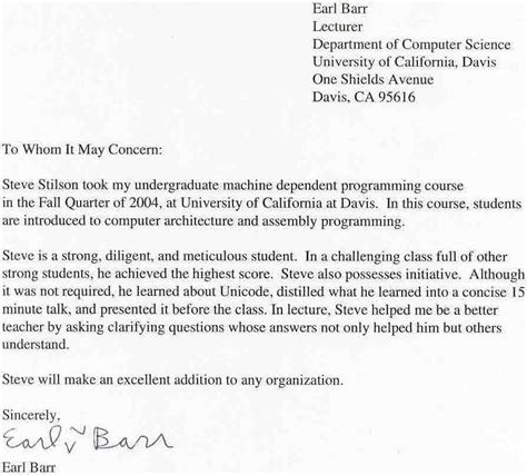 Recommendation Letter For Student Organization steve stilson s page