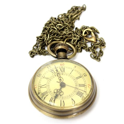 vintage yellow color vintage bronze yellow color dial roman number chain pocket