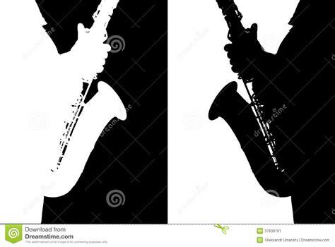 imagen blanco y negro corel silueta blanco y negro del saxof 243 n stock de ilustraci 243 n