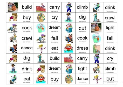 verbs domino worksheet free esl printable worksheets made by teachers