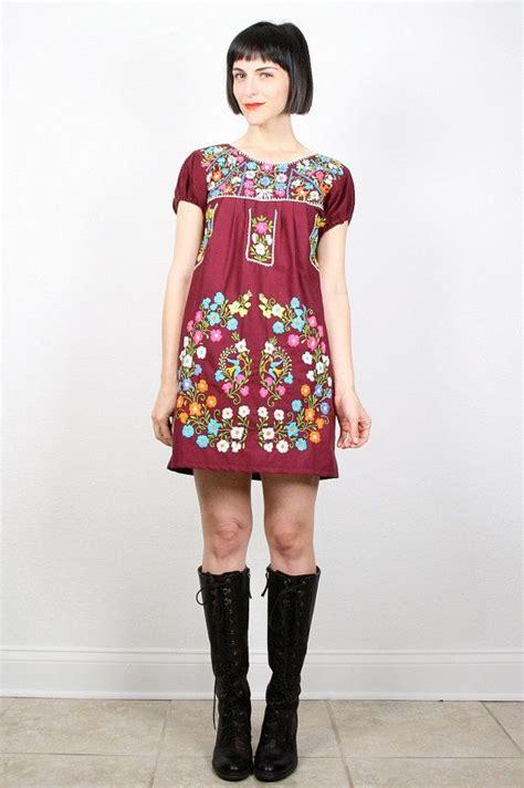 Maxi Aida Maroon vintage mexican dress burgundy maroon oxblood rainbow