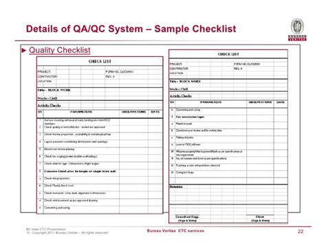 Bureau Veritas Construction Quality Checklist Template Construction