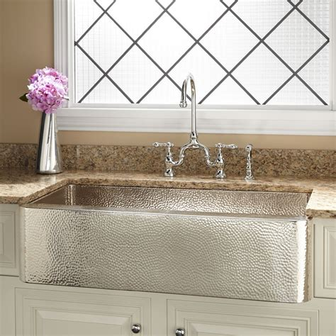 nickel plated copper sink 35 quot reena nickel plated copper farmhouse sink with