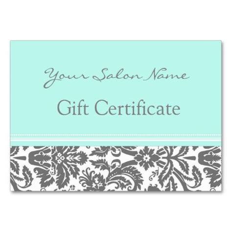 salon gift certificate template free salon gift certificate aqua grey damask