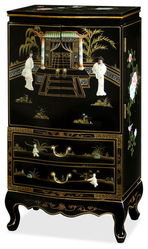 japanese jewelry armoire black lacquer jewelry armoire asian jewelry armoires