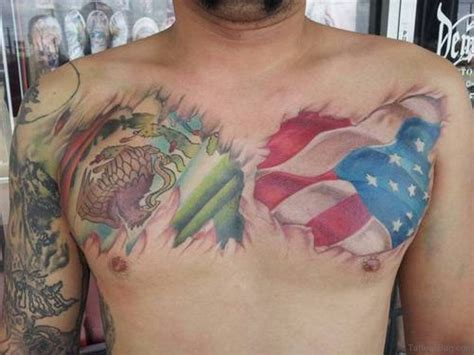 mexican american tattoos 57 classic flag tattoos on chest