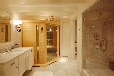 sauna kits Bathroom Beach with exposed beams glass shower ? cybball.com