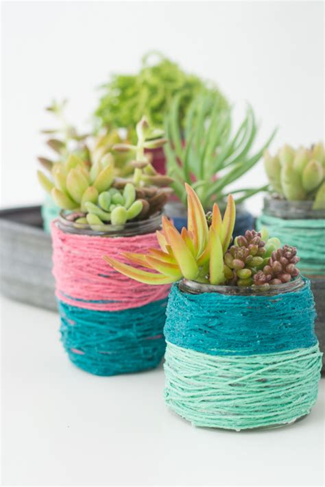 Pot Bunga Series 02 recycle jars into succulent planting pots with color