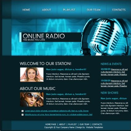 templates for radio website online radio template free website templates in css html