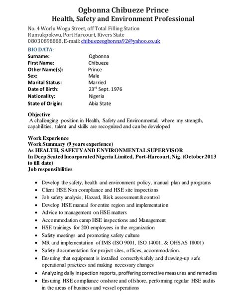 Hse Specialist Sle Resume by Ogbonna Hse Specialist Cv 2015