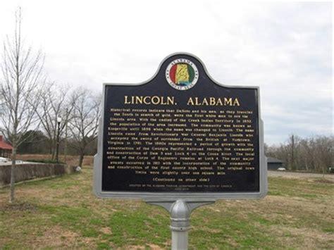 lincoln alabama alabama historical markers on