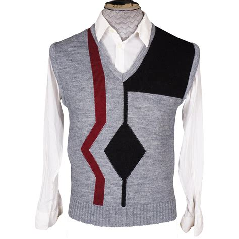 vintage vest pattern vintage 70s mens knit sweater vest geometric pattern