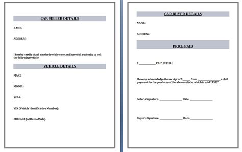 used car receipt template word excel formats